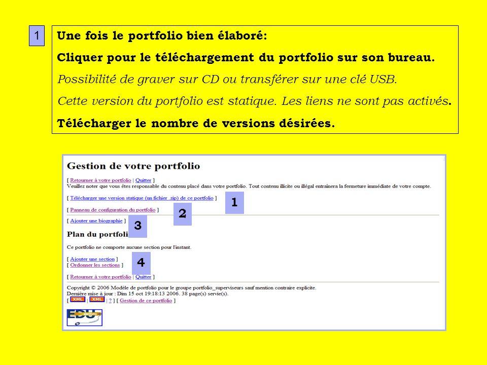 2 1 3 4 1 Une fois le portfolio bien élaboré: Cliquer pour le téléchargement du portfolio sur son bureau.