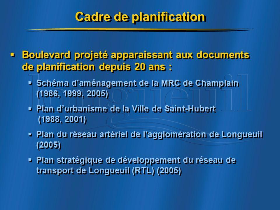 Boulevard projeté apparaissant aux documents de planification depuis 20 ans : Schéma daménagement de la MRC de Champlain (1986, 1999, 2005) Plan durbanisme de la Ville de Saint-Hubert (1988, 2001) Plan du réseau artériel de lagglomération de Longueuil (2005) Plan stratégique de développement du réseau de transport de Longueuil (RTL) (2005) Boulevard projeté apparaissant aux documents de planification depuis 20 ans : Schéma daménagement de la MRC de Champlain (1986, 1999, 2005) Plan durbanisme de la Ville de Saint-Hubert (1988, 2001) Plan du réseau artériel de lagglomération de Longueuil (2005) Plan stratégique de développement du réseau de transport de Longueuil (RTL) (2005) Cadre de planification
