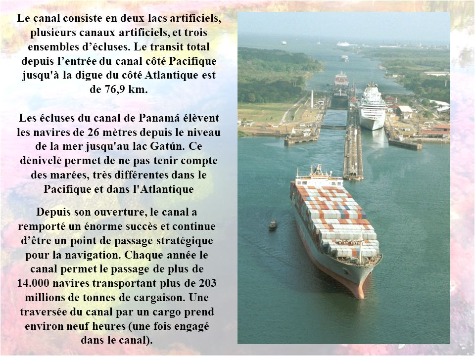 Le Canal de Panama connecte les océans Atlantique et Pacifique à travers listhme de Panama.