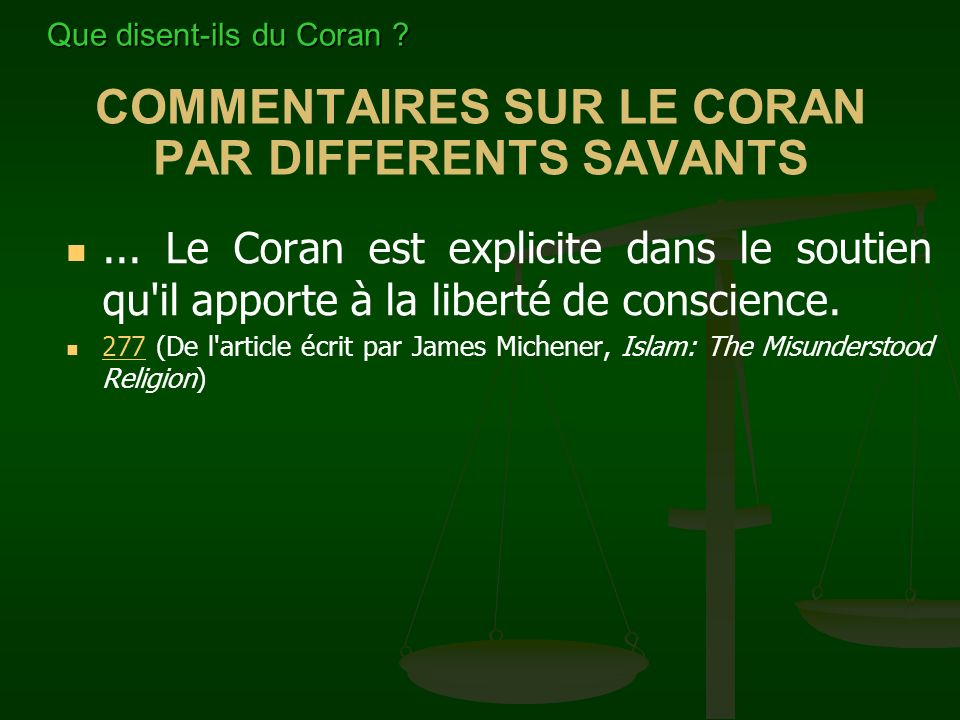 COMMENTAIRES SUR LE CORAN PAR DIFFERENTS SAVANTS...