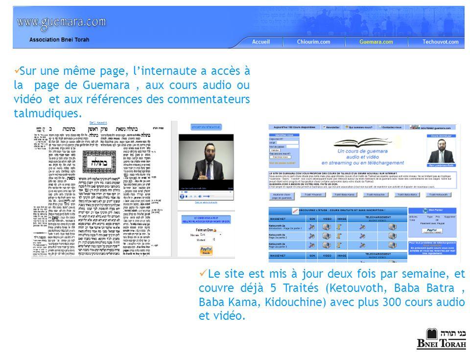 Sur une même page, linternaute a accès à la page de Guemara, aux cours audio ou vidéo et aux références des commentateurs talmudiques. Le site est mis