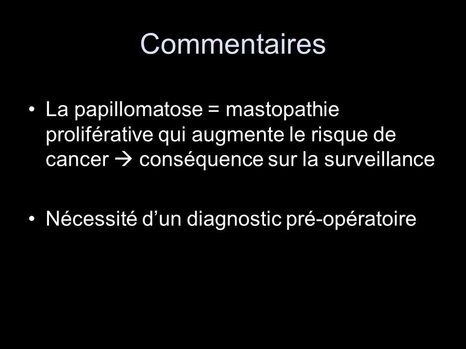 Commentaires La papillomatose = mastopathie proliférative qui augmente le risque de cancer conséquence sur la surveillance Nécessité dun diagnostic pr