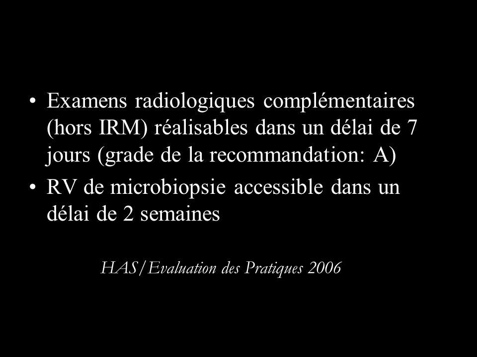 Examens radiologiques complémentaires (hors IRM) réalisables dans un délai de 7 jours (grade de la recommandation: A) RV de microbiopsie accessible da