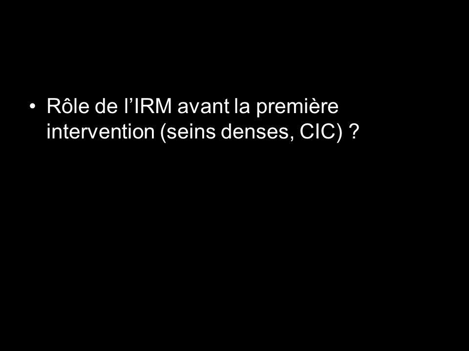 Rôle de lIRM avant la première intervention (seins denses, CIC) ?