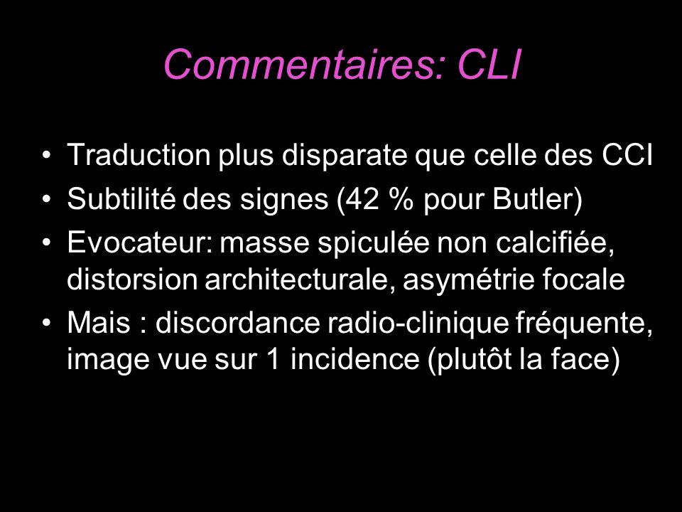 Commentaires: CLI Traduction plus disparate que celle des CCI Subtilité des signes (42 % pour Butler) Evocateur: masse spiculée non calcifiée, distors