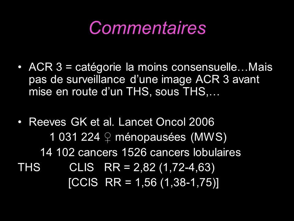 Commentaires ACR 3 = catégorie la moins consensuelle…Mais pas de surveillance dune image ACR 3 avant mise en route dun THS, sous THS,… Reeves GK et al