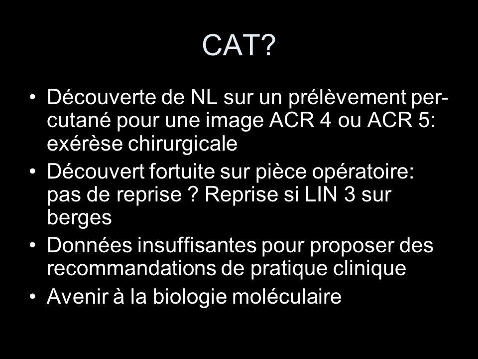 CAT? Découverte de NL sur un prélèvement per- cutané pour une image ACR 4 ou ACR 5: exérèse chirurgicale Découvert fortuite sur pièce opératoire: pas