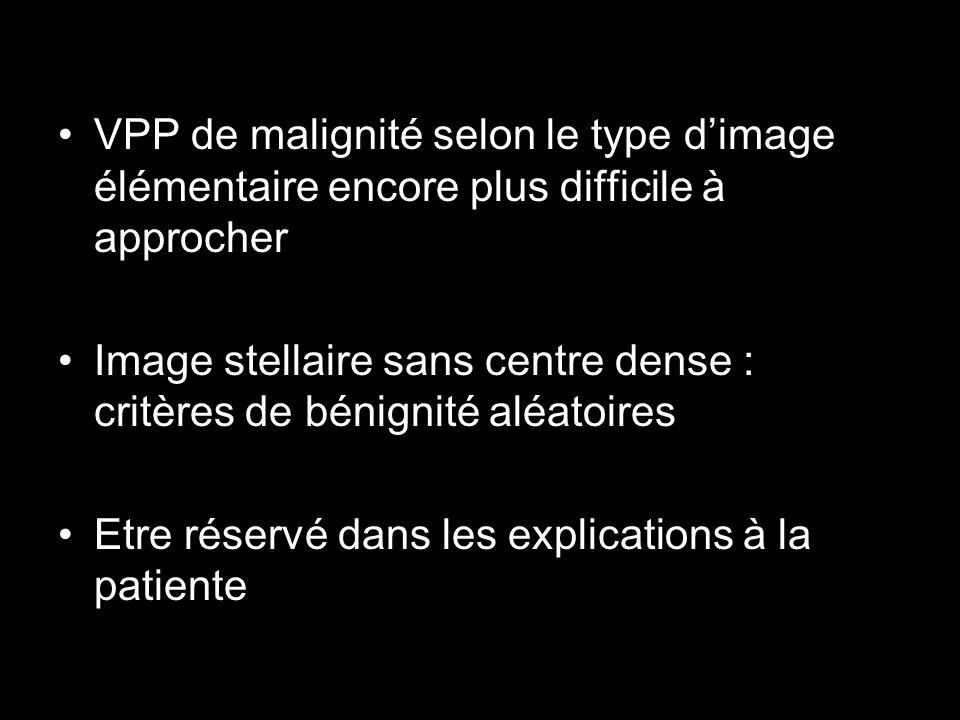 VPP de malignité selon le type dimage élémentaire encore plus difficile à approcher Image stellaire sans centre dense : critères de bénignité aléatoir