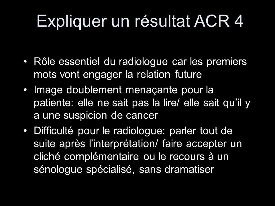 Expliquer un résultat ACR 4 Rôle essentiel du radiologue car les premiers mots vont engager la relation future Image doublement menaçante pour la pati