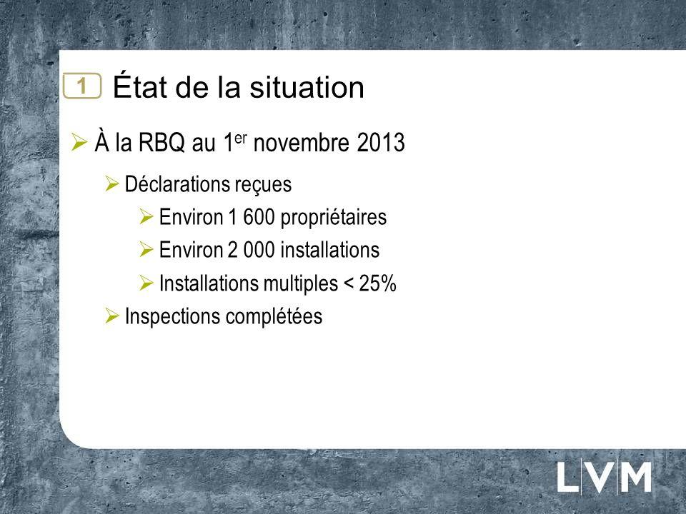 État de la situation À la RBQ au 1 er novembre 2013 Déclarations reçues Environ 1 600 propriétaires Environ 2 000 installations Installations multiples < 25% Inspections complétées 1