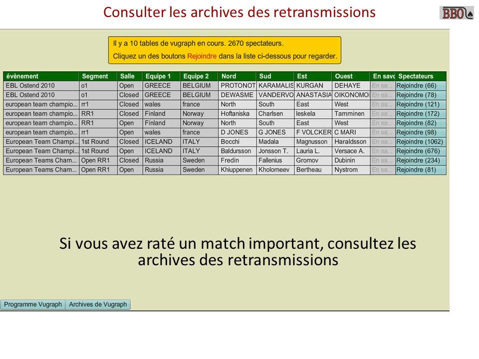 Consulter les archives des retransmissions Si vous avez raté un match important, consultez les archives des retransmissions