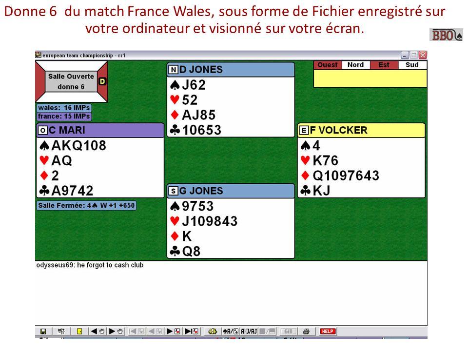Donne 6 du match France Wales, sous forme de Fichier enregistré sur votre ordinateur et visionné sur votre écran.