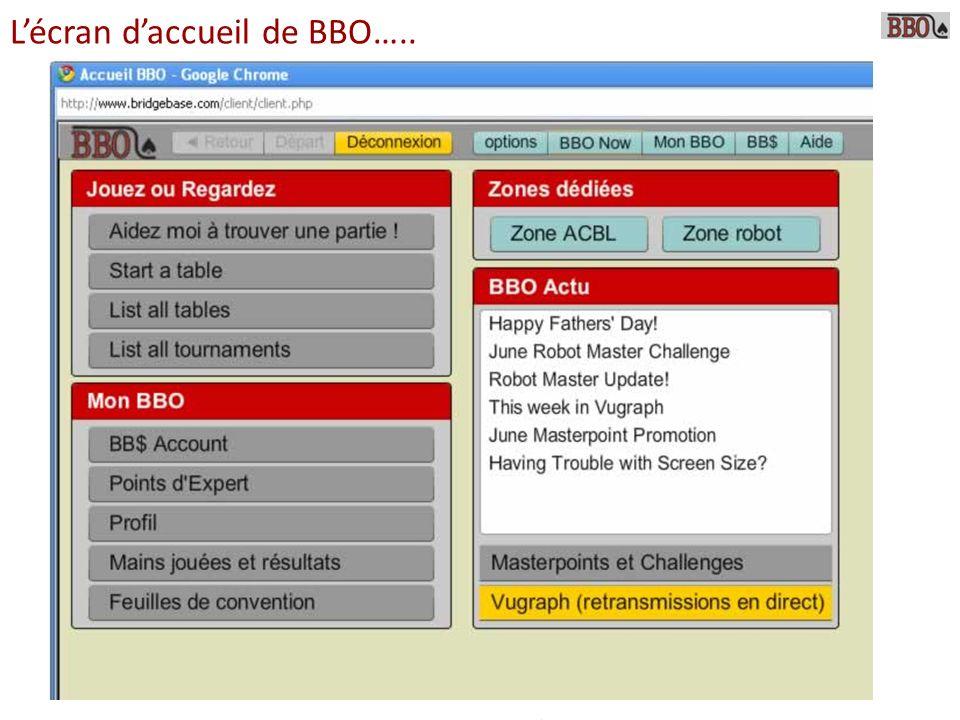 Lécran daccueil de BBO…..