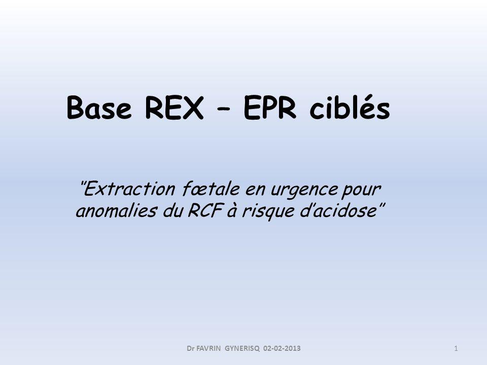 Base REX – EPR ciblés Extraction fœtale en urgence pour anomalies du RCF à risque dacidose 1Dr FAVRIN GYNERISQ 02-02-2013
