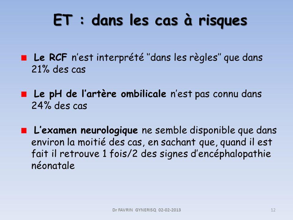 ET : dans les cas à risques ET : dans les cas à risques Le RCF nest interprété dans les règles que dans 21% des cas Le pH de lartère ombilicale nest p