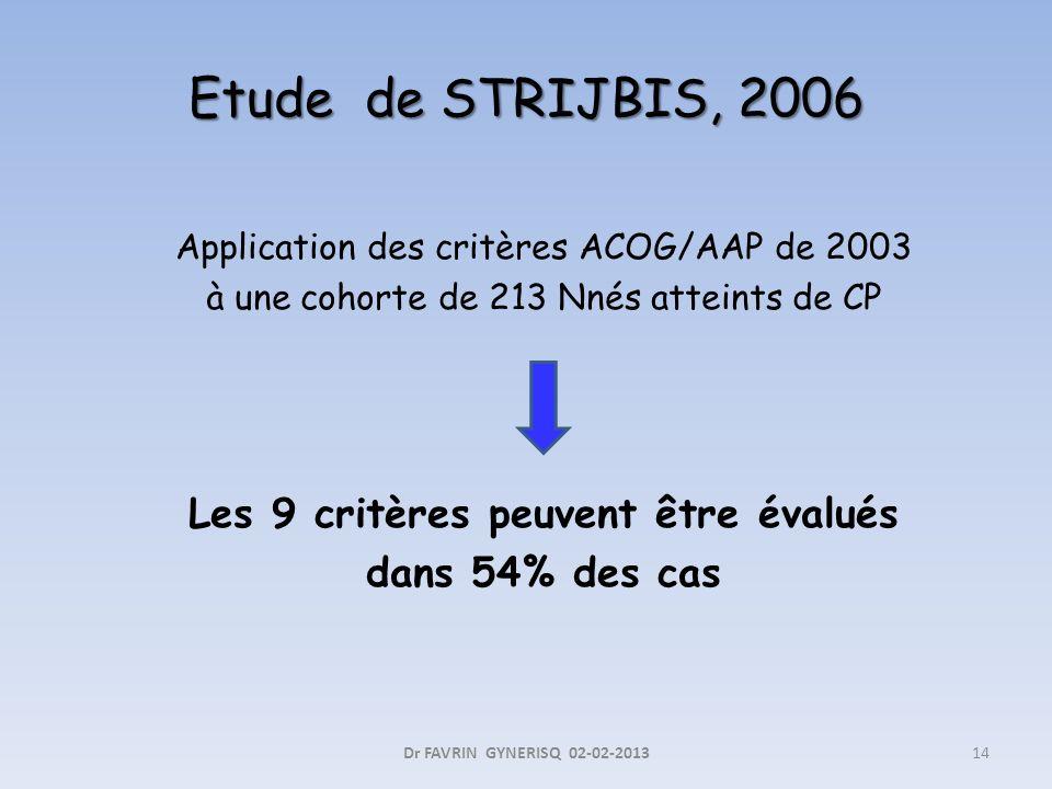Etude de STRIJBIS, 2006 Application des critères ACOG/AAP de 2003 à une cohorte de 213 Nnés atteints de CP Les 9 critères peuvent être évalués dans 54