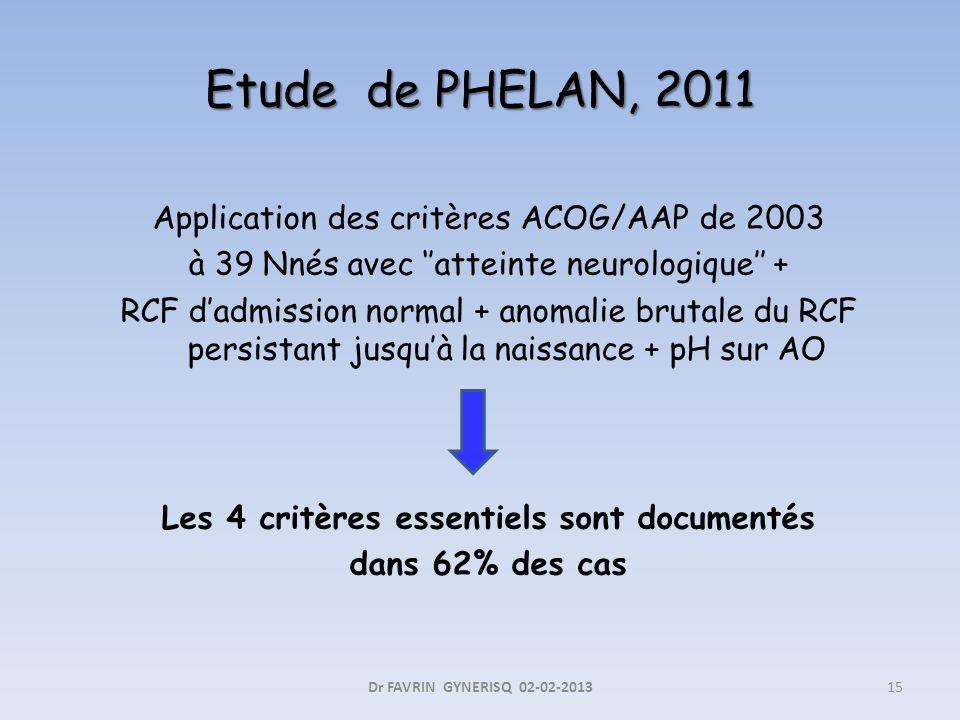 Application des critères ACOG/AAP de 2003 à 39 Nnés avec atteinte neurologique + RCF dadmission normal + anomalie brutale du RCF persistant jusquà la