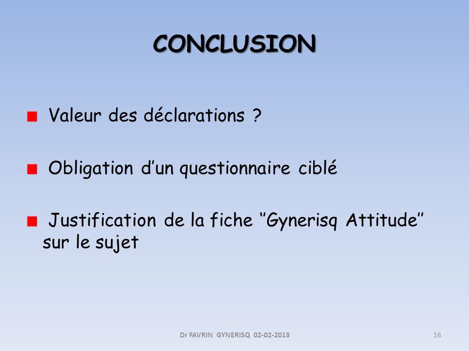 Valeur des déclarations ? Obligation dun questionnaire ciblé Justification de la fiche Gynerisq Attitude sur le sujet Dr FAVRIN GYNERISQ 02-02-201316
