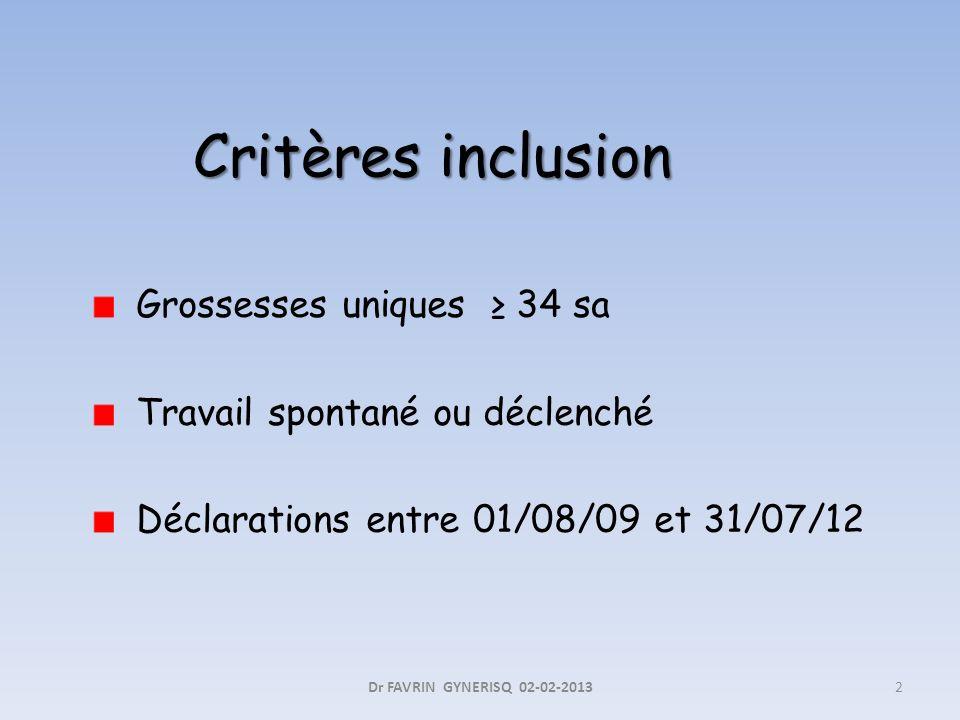 Critères inclusion Grossesses uniques 34 sa Travail spontané ou déclenché Déclarations entre 01/08/09 et 31/07/12 2Dr FAVRIN GYNERISQ 02-02-2013