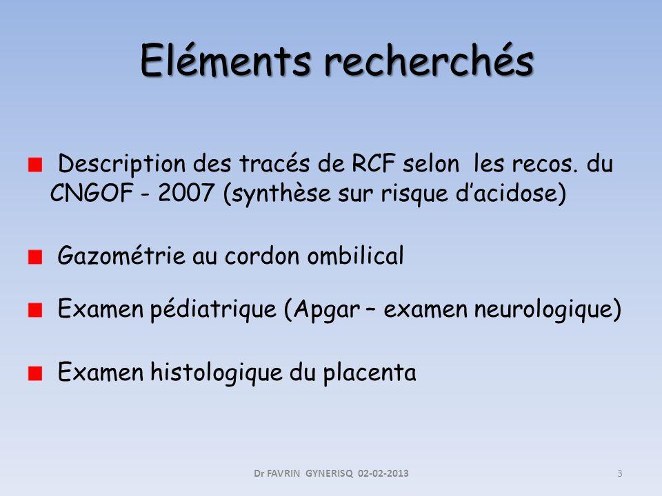 Description des tracés de RCF selon les recos. du CNGOF - 2007 (synthèse sur risque dacidose) Gazométrie au cordon ombilical Examen pédiatrique (Apgar