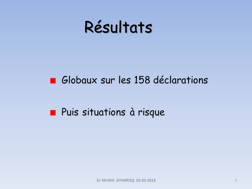 Globaux sur les 158 déclarations Puis situations à risque 5Dr FAVRIN GYNERISQ 02-02-2013 Résultats
