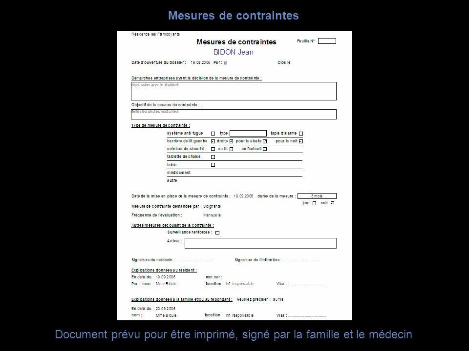Document prévu pour être imprimé, signé par la famille et le médecin