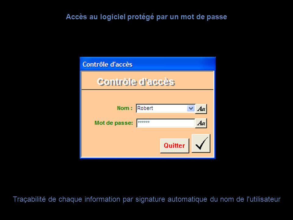 Accès au logiciel protégé par un mot de passe Traçabilité de chaque information par signature automatique du nom de l'utilisateur