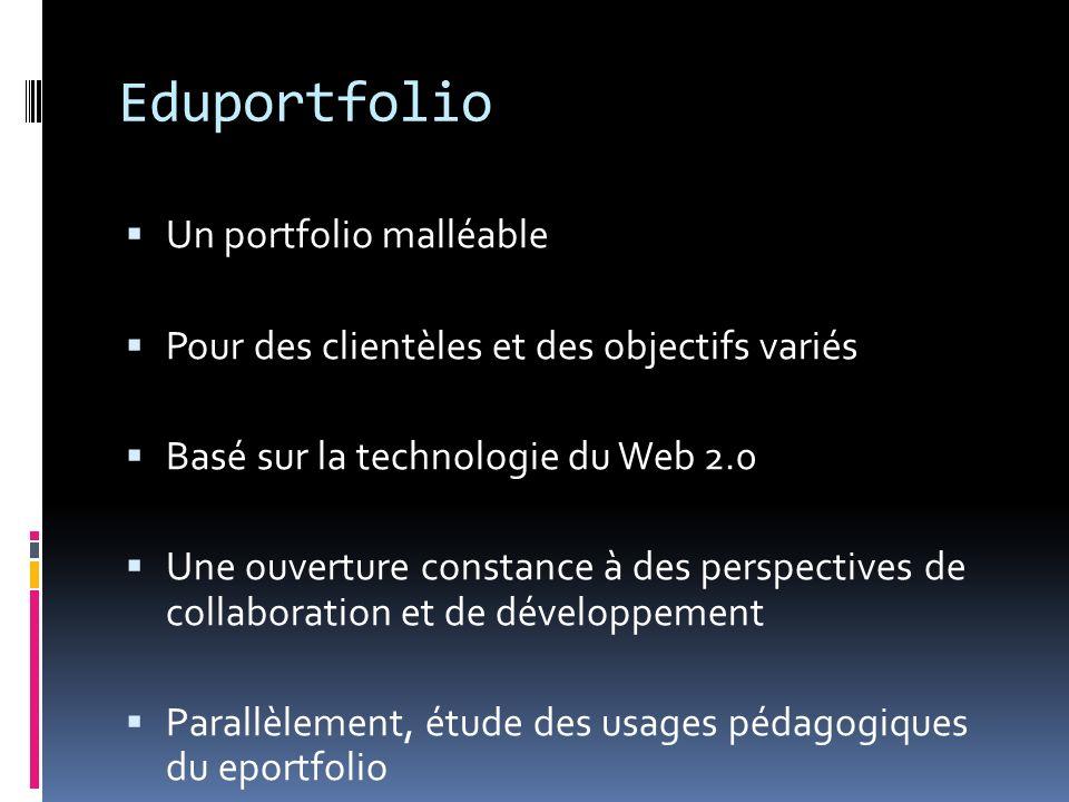 Eduportfolio Un portfolio malléable Pour des clientèles et des objectifs variés Basé sur la technologie du Web 2.0 Une ouverture constance à des persp