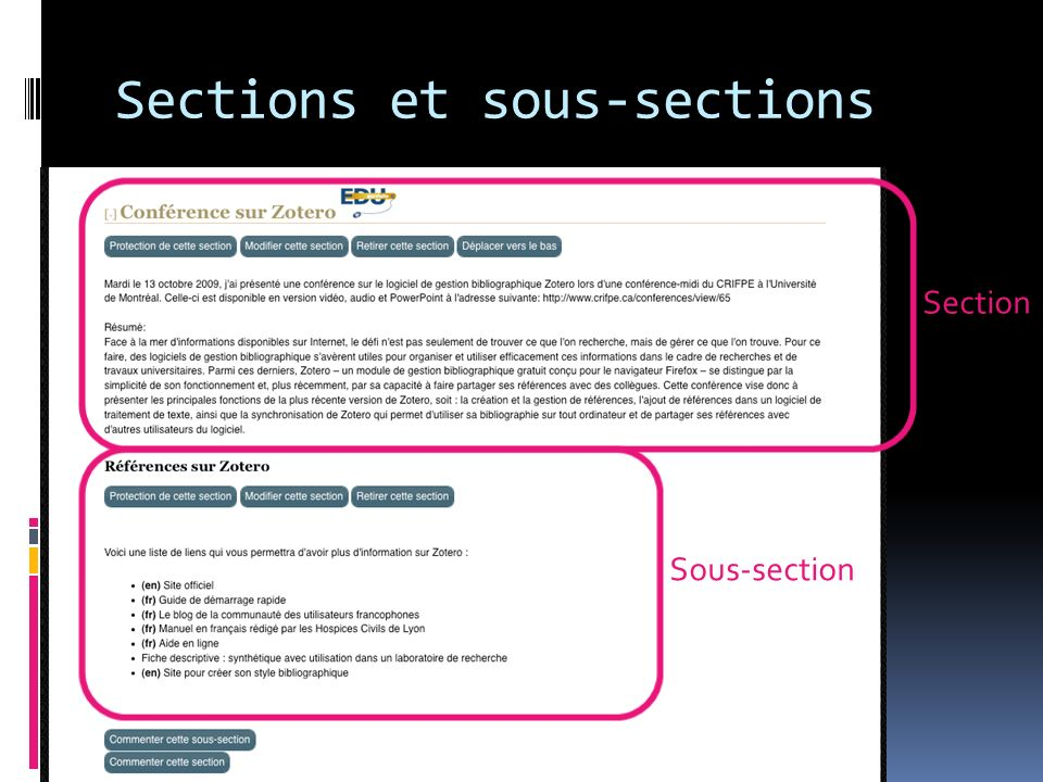 Section Sous-section Sections et sous-sections