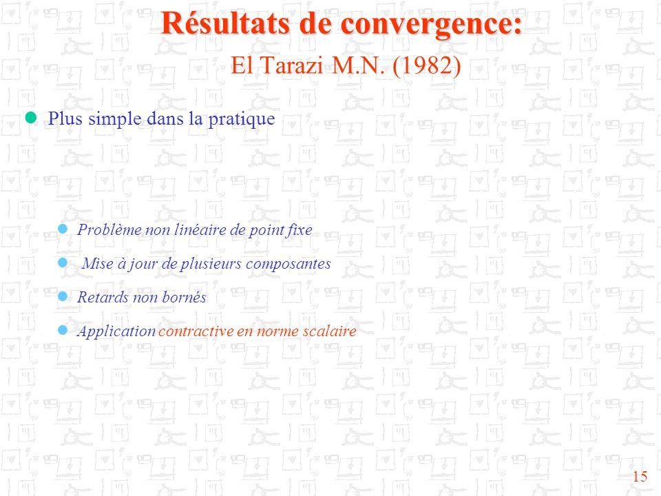 15 Résultats de convergence: Résultats de convergence: El Tarazi M.N. (1982) Plus simple dans la pratique Problème non linéaire de point fixe Mise à j