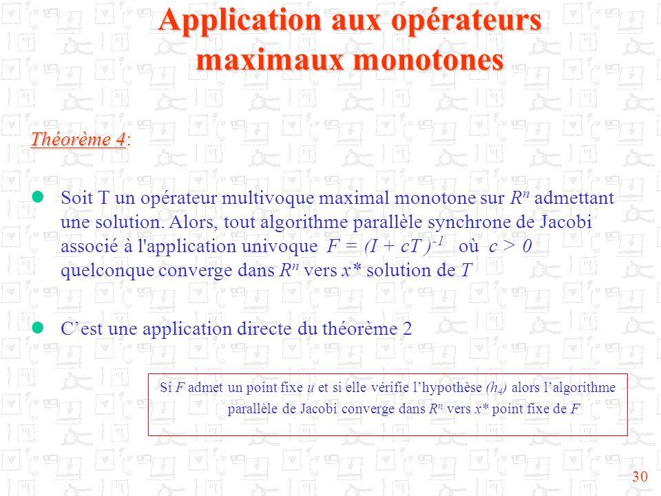 30 Application aux opérateurs maximaux monotones Théorème 4 Théorème 4: Soit T un opérateur multivoque maximal monotone sur R n admettant une solution