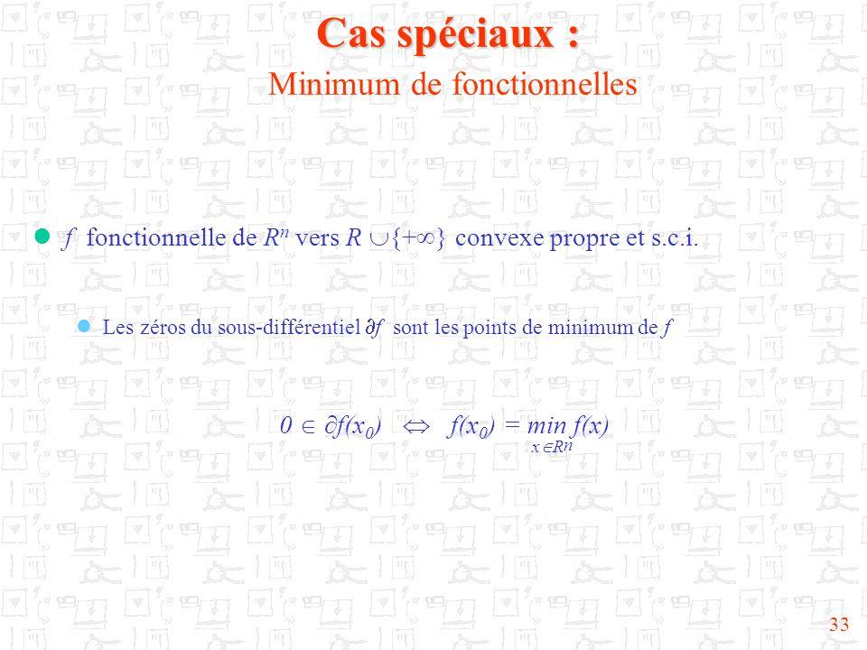 33 Cas spéciaux : Cas spéciaux : Minimum de fonctionnelles f fonctionnelle de R n vers R {+ } convexe propre et s.c.i. Les zéros du sous-différentiel
