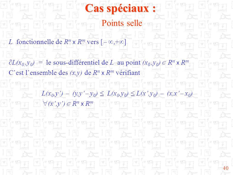 40 Cas spéciaux : Cas spéciaux : Points selle L fonctionnelle de R n x R m vers [,+ ] L(x 0,y 0 ) = le sous-différentiel de L au point (x 0,y 0 ) R n