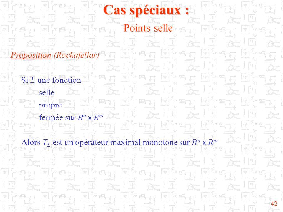 42 Proposition Proposition (Rockafellar) Si L une fonction selle propre fermée sur R n x R m Alors T L est un opérateur maximal monotone sur R n x R m