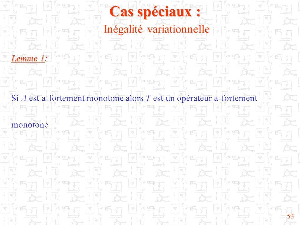 53 Cas spéciaux : Cas spéciaux : Inégalité variationnelle Lemme 1 Lemme 1: Si A est a-fortement monotone alors T est un opérateur a-fortement monotone