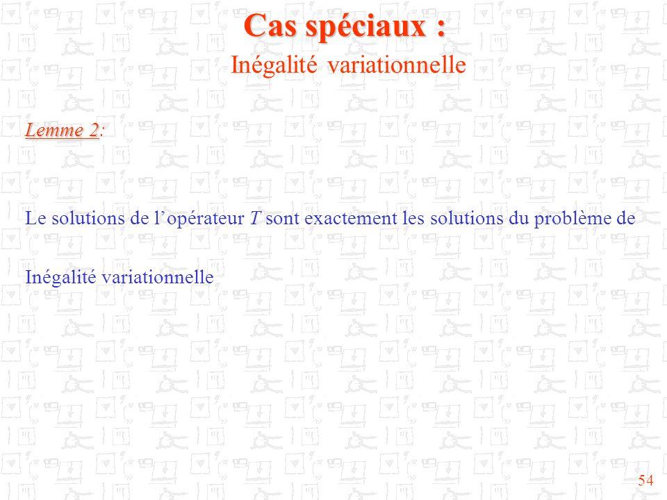 54 Cas spéciaux : Cas spéciaux : Inégalité variationnelle Lemme 2 Lemme 2: Le solutions de lopérateur T sont exactement les solutions du problème de I