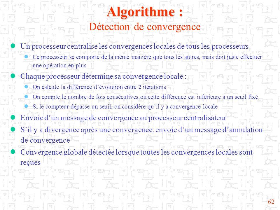 62 Algorithme : Algorithme : Détection de convergence Un processeur centralise les convergences locales de tous les processeurs Ce processeur se compo