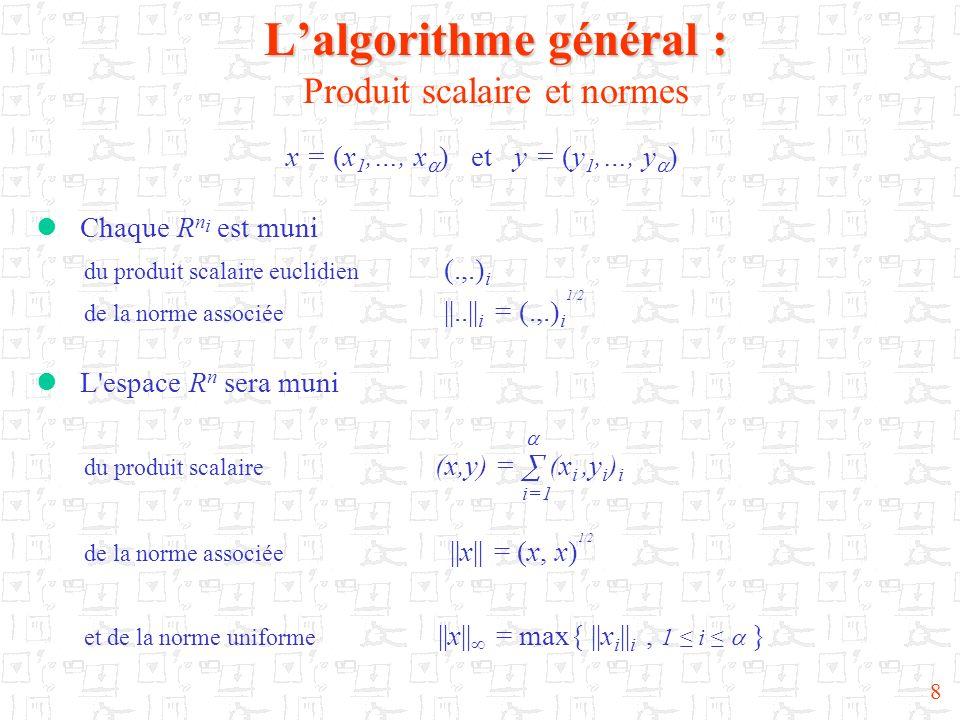 8 Lalgorithme général : Lalgorithme général : Produit scalaire et normes x = (x 1,…, x ) et y = (y 1,…, y ) Chaque R n i est muni du produit scalaire