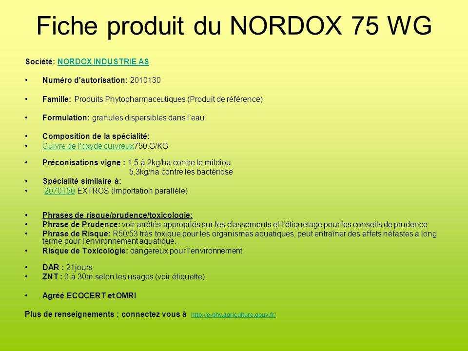 Fiche produit du NORDOX 75 WG Société: NORDOX INDUSTRIE ASNORDOX INDUSTRIE AS Numéro d'autorisation: 2010130 Famille: Produits Phytopharmaceutiques (P