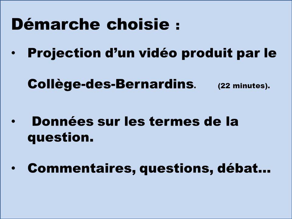 Démarche choisie : Projection dun vidéo produit par le Collège-des-Bernardins. (22 minutes). Données sur les termes de la question. Commentaires, ques