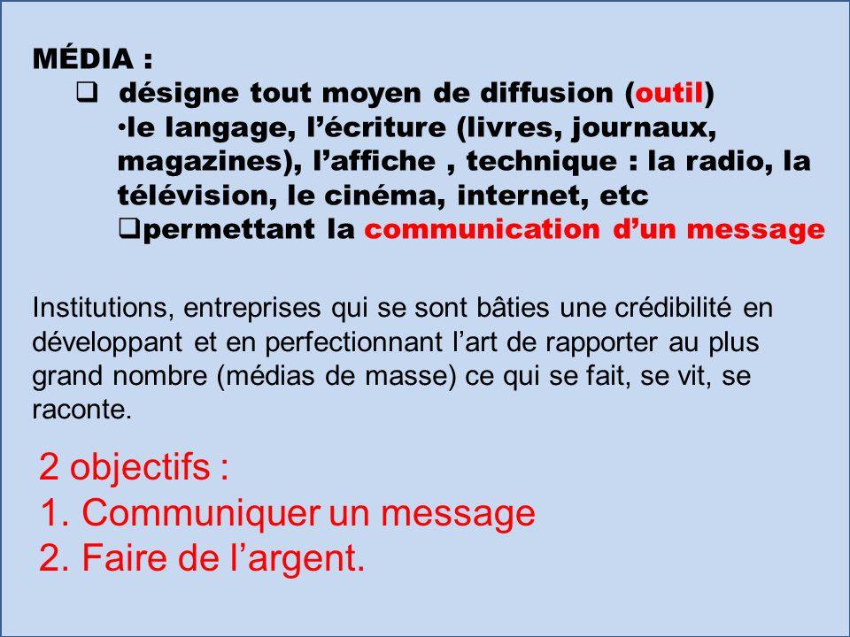 MÉDIA : désigne tout moyen de diffusion (outil) le langage, lécriture (livres, journaux, magazines), laffiche, technique : la radio, la télévision, le