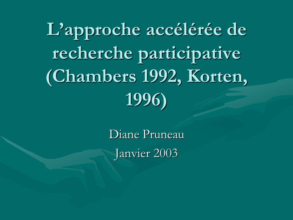 Lapproche accélérée de recherche participative (Chambers 1992, Korten, 1996) Diane Pruneau Janvier 2003