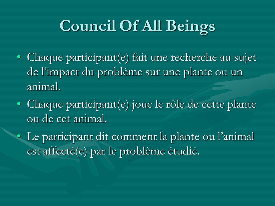 Council Of All Beings Chaque participant(e) fait une recherche au sujet de limpact du problème sur une plante ou un animal.Chaque participant(e) fait une recherche au sujet de limpact du problème sur une plante ou un animal.