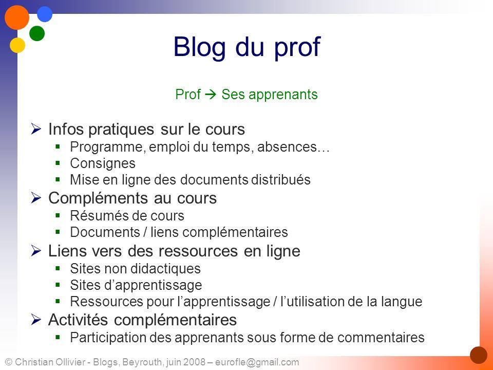 © Christian Ollivier - Blogs, Beyrouth, juin 2008 – eurofle@gmail.com Blog du prof Prof Ses apprenants Infos pratiques sur le cours Programme, emploi