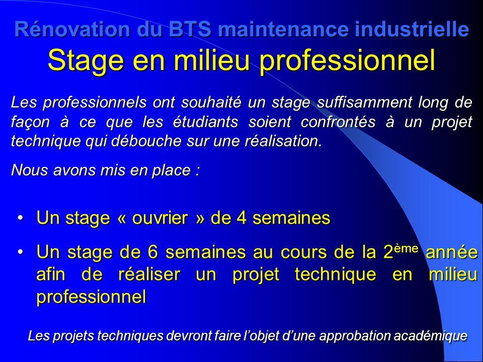 Rénovation du BTS maintenance industrielle Stage en milieu professionnel Un stage « ouvrier » de 4 semainesUn stage « ouvrier » de 4 semaines Un stage