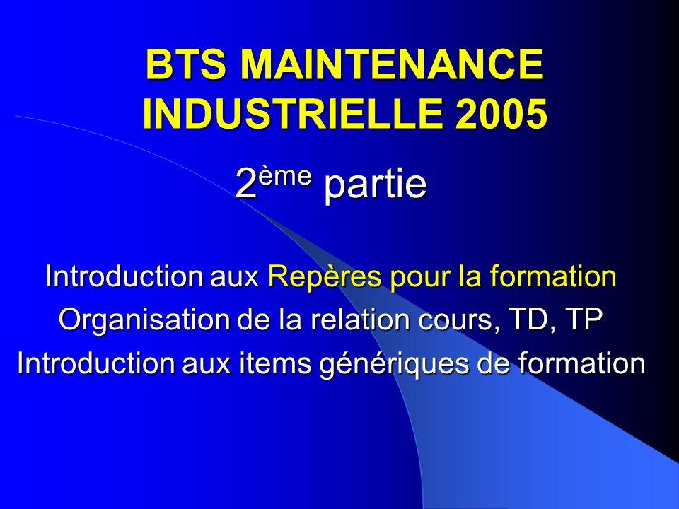 BTS MAINTENANCE INDUSTRIELLE 2005 2 ème partie Introduction aux Repères pour la formation Organisation de la relation cours, TD, TP Introduction aux i