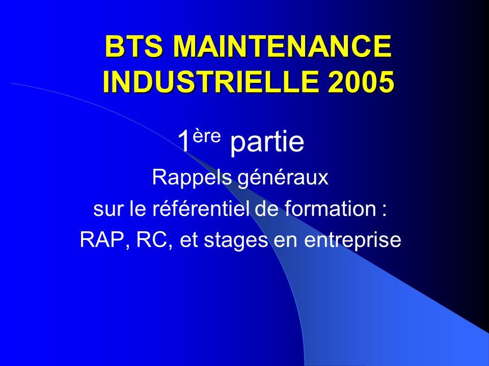 BTS MAINTENANCE INDUSTRIELLE 2005 1 ère partie Rappels généraux sur le référentiel de formation : RAP, RC, et stages en entreprise