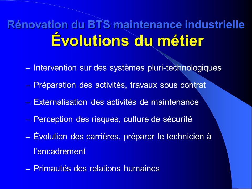 Rénovation du BTS maintenance industrielle Évolutions du métier – Intervention sur des systèmes pluri-technologiques – Préparation des activités, trav