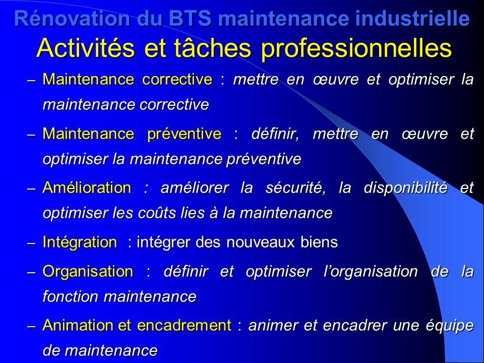 Rénovation du BTS maintenance industrielle Activités et tâches professionnelles – Maintenance corrective : mettre en œuvre et optimiser la maintenance