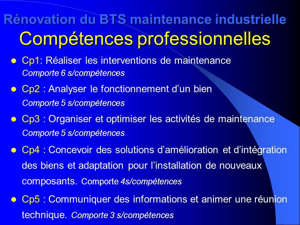Rénovation du BTS maintenance industrielle Compétences professionnelles Cp1: Réaliser les interventions de maintenance Comporte 6 s/compétences Cp2 :